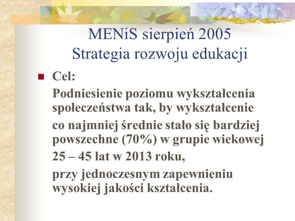 MENiS sierpień 2005 Strategia rozwoju edukacji