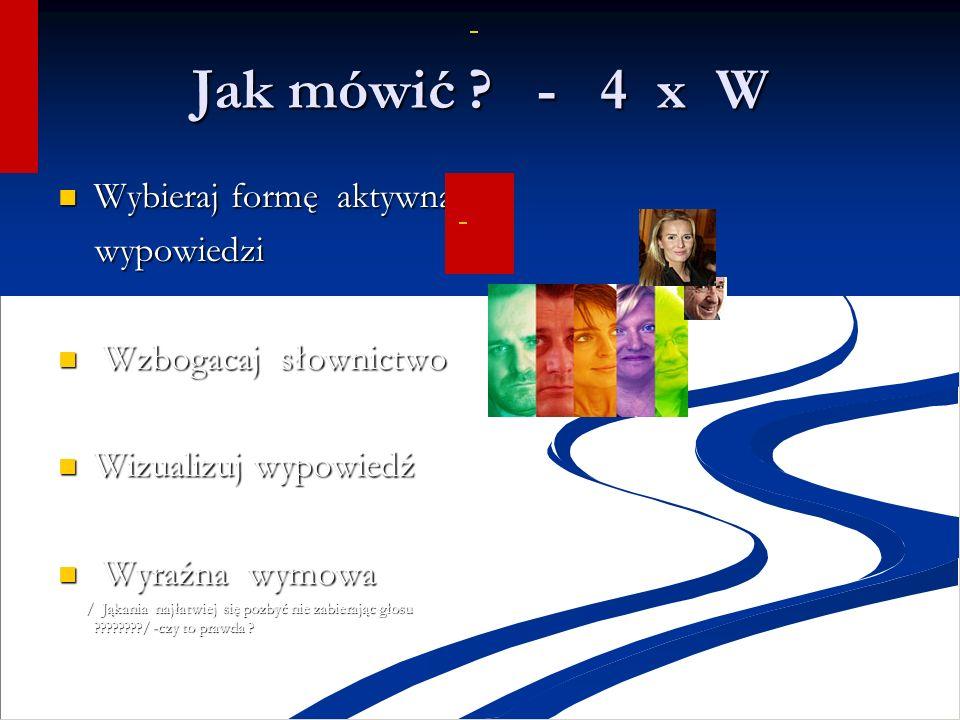 Jak mówić - 4 x W Wybieraj formę aktywną wypowiedzi