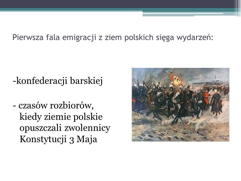 Pierwsza fala emigracji z ziem polskich sięga wydarzeń: