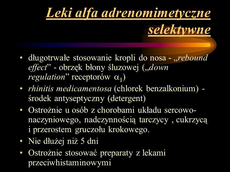 Leki alfa adrenomimetyczne selektywne