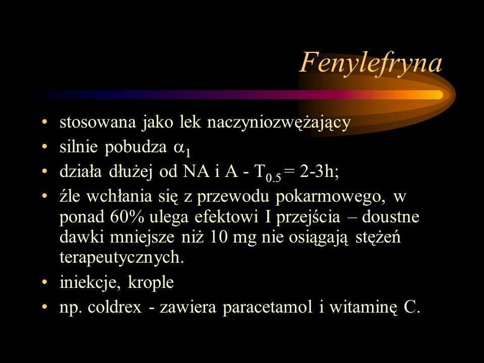 Fenylefryna stosowana jako lek naczyniozwężający silnie pobudza 1