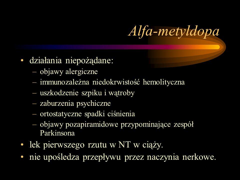 Alfa-metyldopa działania niepożądane: