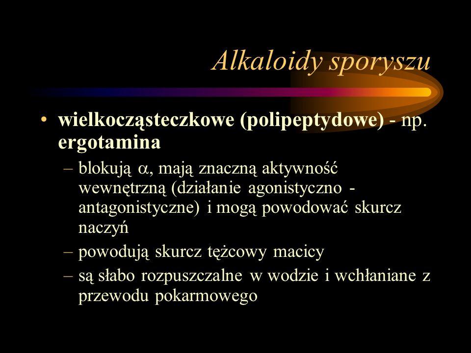 Alkaloidy sporyszu wielkocząsteczkowe (polipeptydowe) - np. ergotamina