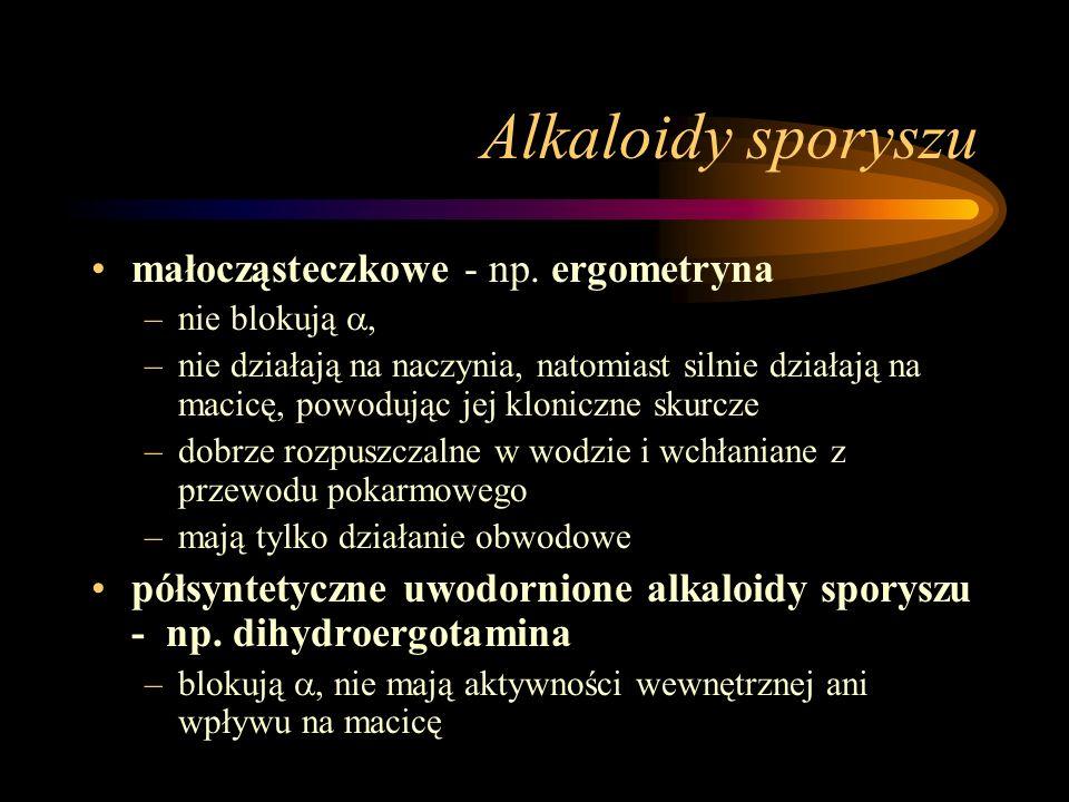 Alkaloidy sporyszu małocząsteczkowe - np. ergometryna