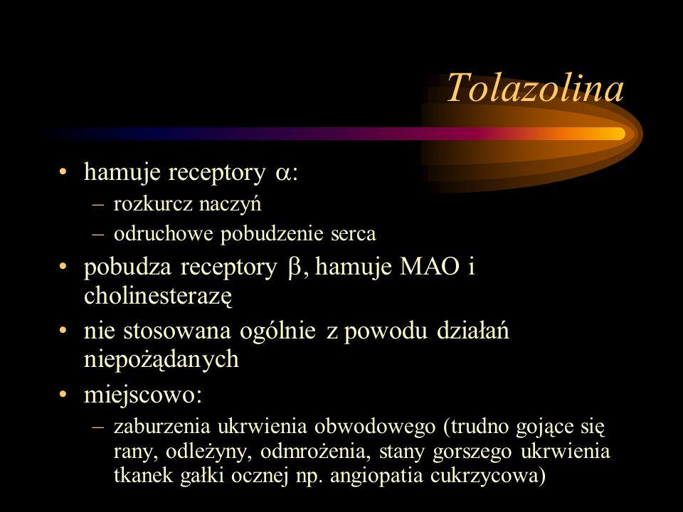Tolazolina hamuje receptory :