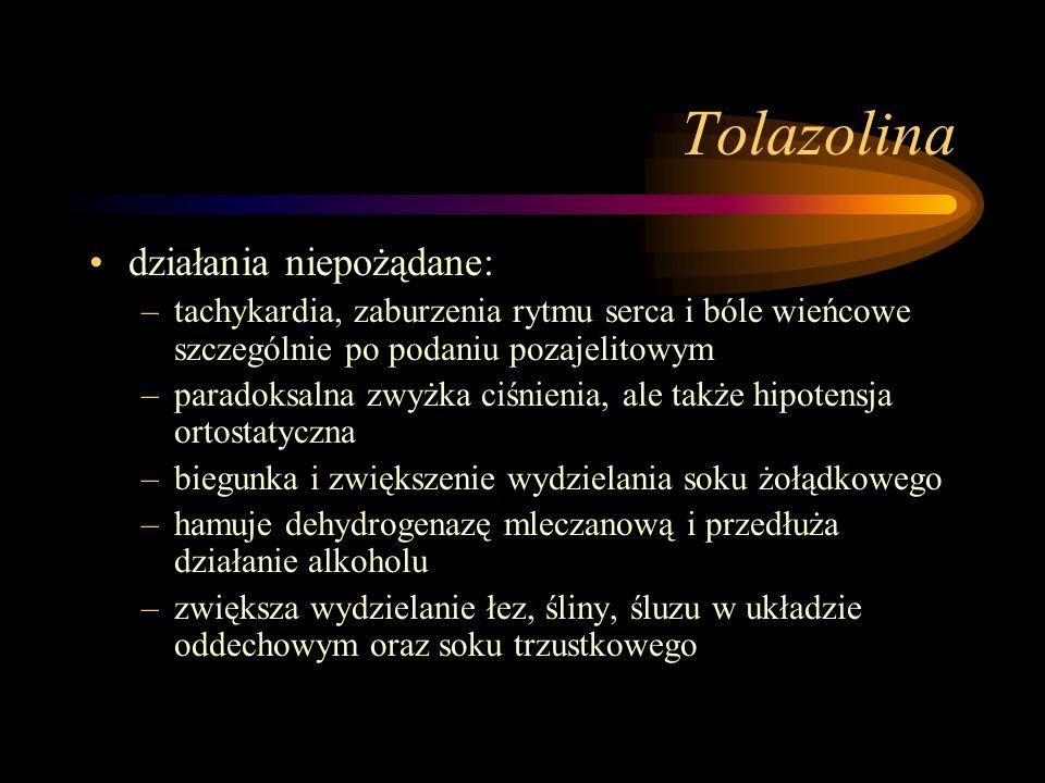 Tolazolina działania niepożądane: