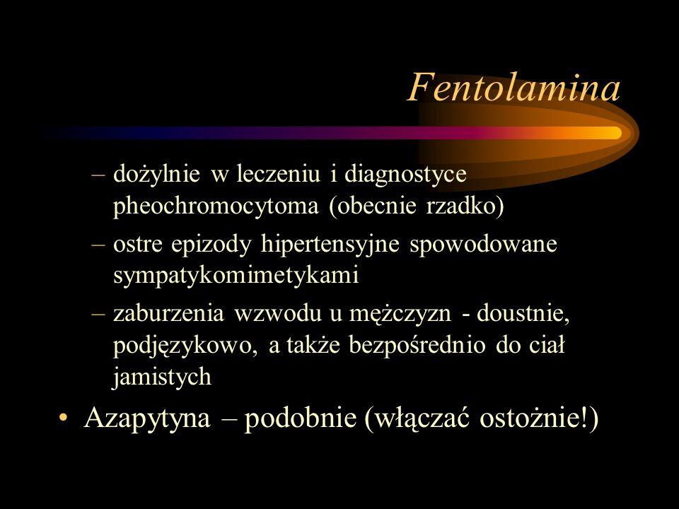 Fentolamina Azapytyna – podobnie (włączać ostożnie!)