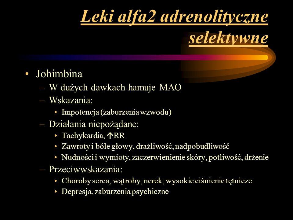 Leki alfa2 adrenolityczne selektywne
