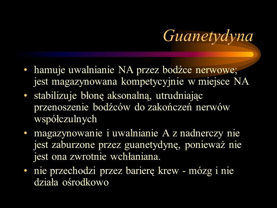 Guanetydyna hamuje uwalnianie NA przez bodźce nerwowe; jest magazynowana kompetycyjnie w miejsce NA.