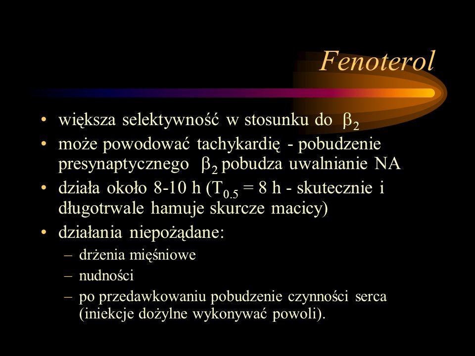 Fenoterol większa selektywność w stosunku do 2