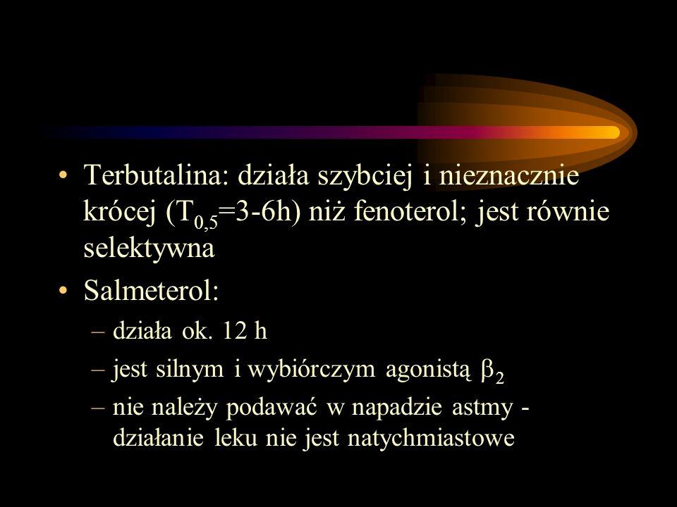Terbutalina: działa szybciej i nieznacznie krócej (T0,5=3-6h) niż fenoterol; jest równie selektywna