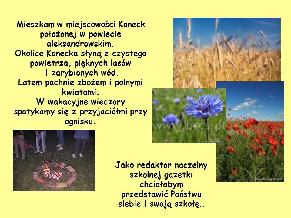 Mieszkam w miejscowości Koneck położonej w powiecie aleksandrowskim.