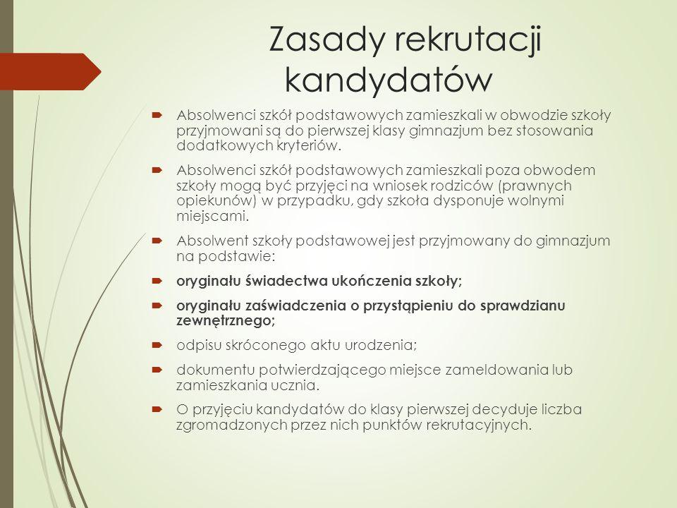 Zasady rekrutacji kandydatów