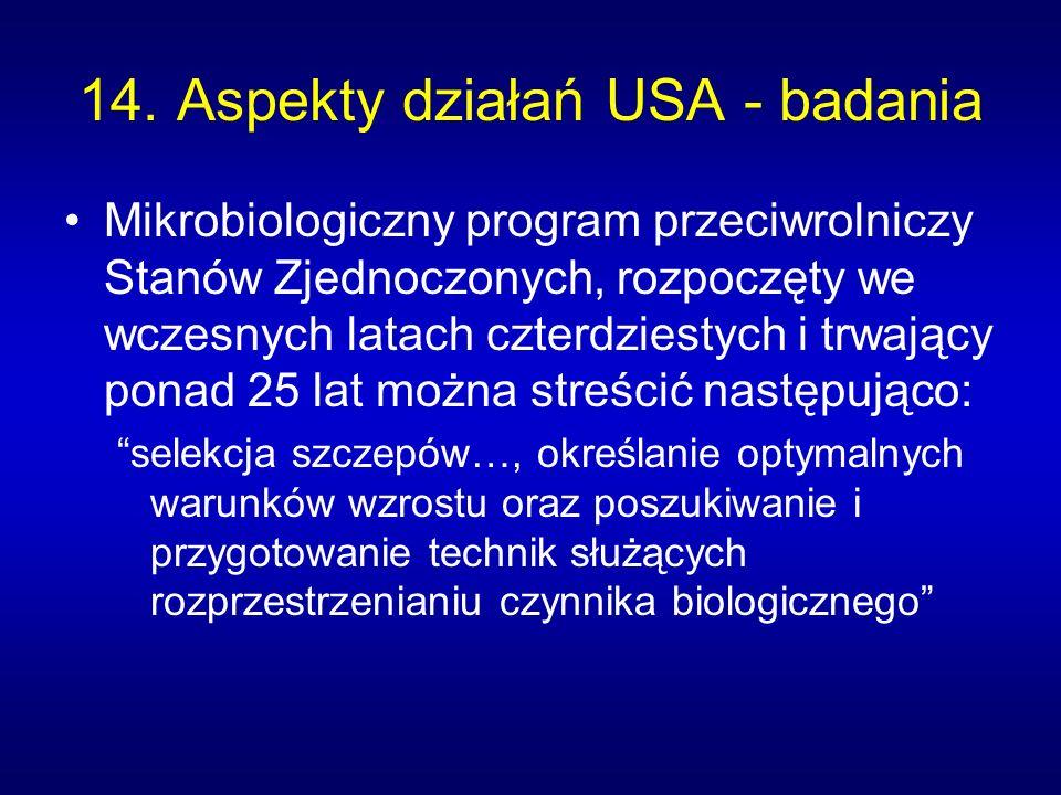 14. Aspekty działań USA - badania
