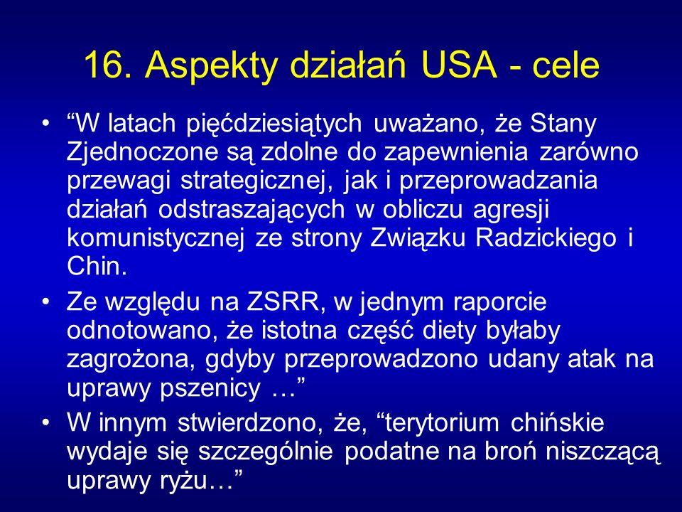 16. Aspekty działań USA - cele