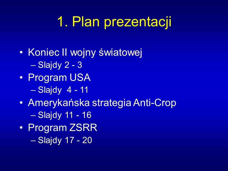 1. Plan prezentacji Koniec II wojny światowej Program USA