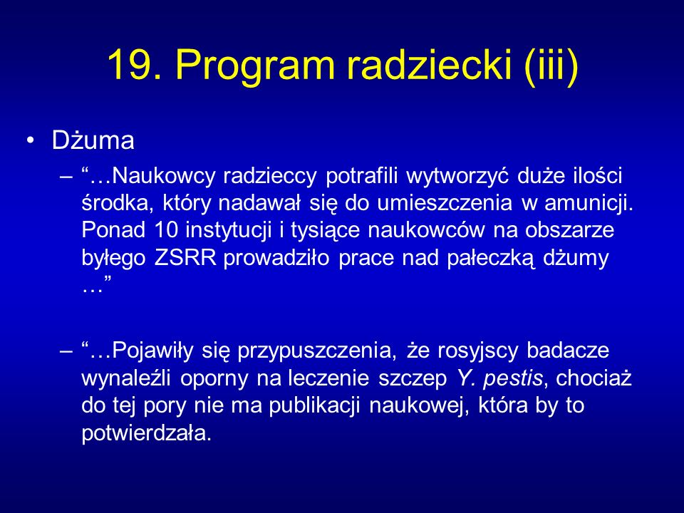 19. Program radziecki (iii)