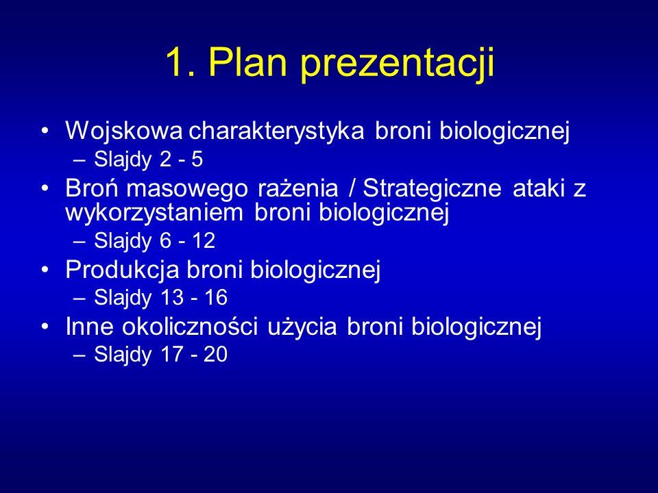 1. Plan prezentacji Wojskowa charakterystyka broni biologicznej