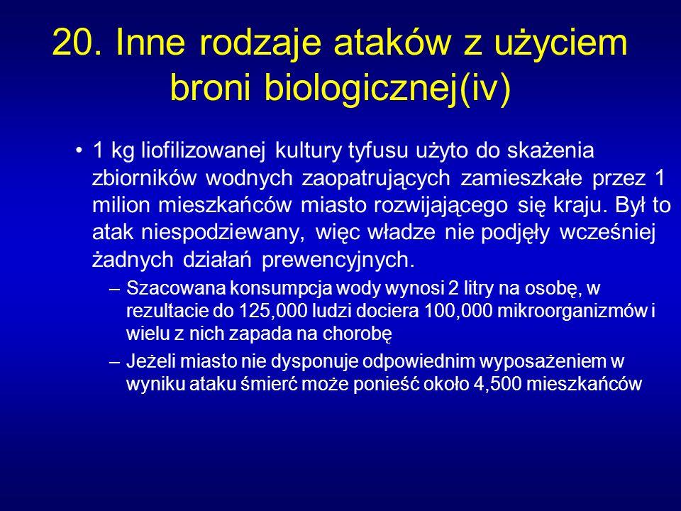 20. Inne rodzaje ataków z użyciem broni biologicznej(iv)
