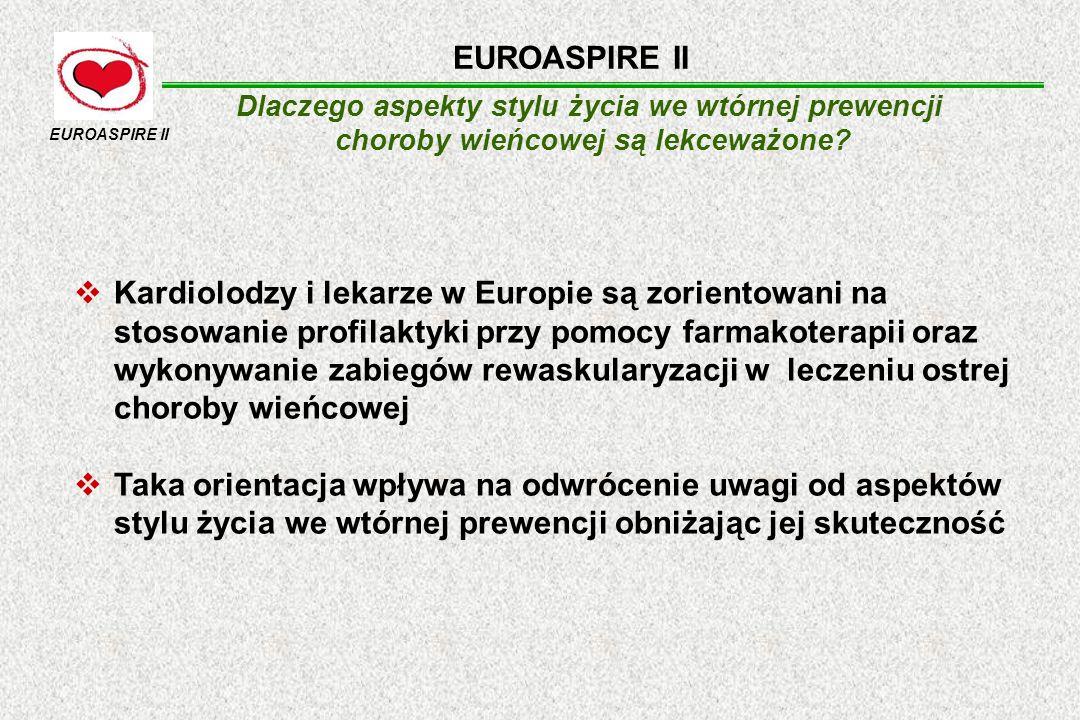 EUROASPIRE II Dlaczego aspekty stylu życia we wtórnej prewencji. choroby wieńcowej są lekceważone