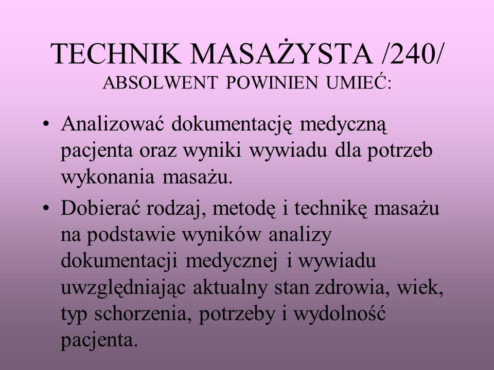 TECHNIK MASAŻYSTA /240/ ABSOLWENT POWINIEN UMIEĆ: