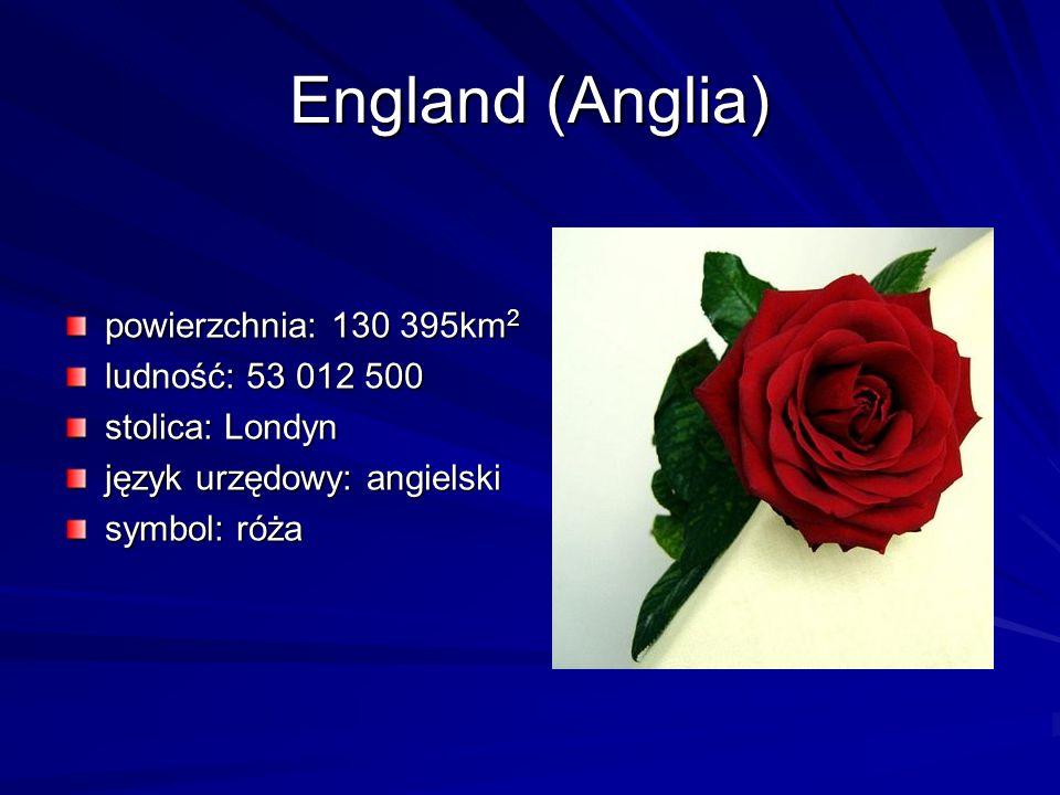 England (Anglia) powierzchnia: 130 395km2 ludność: 53 012 500