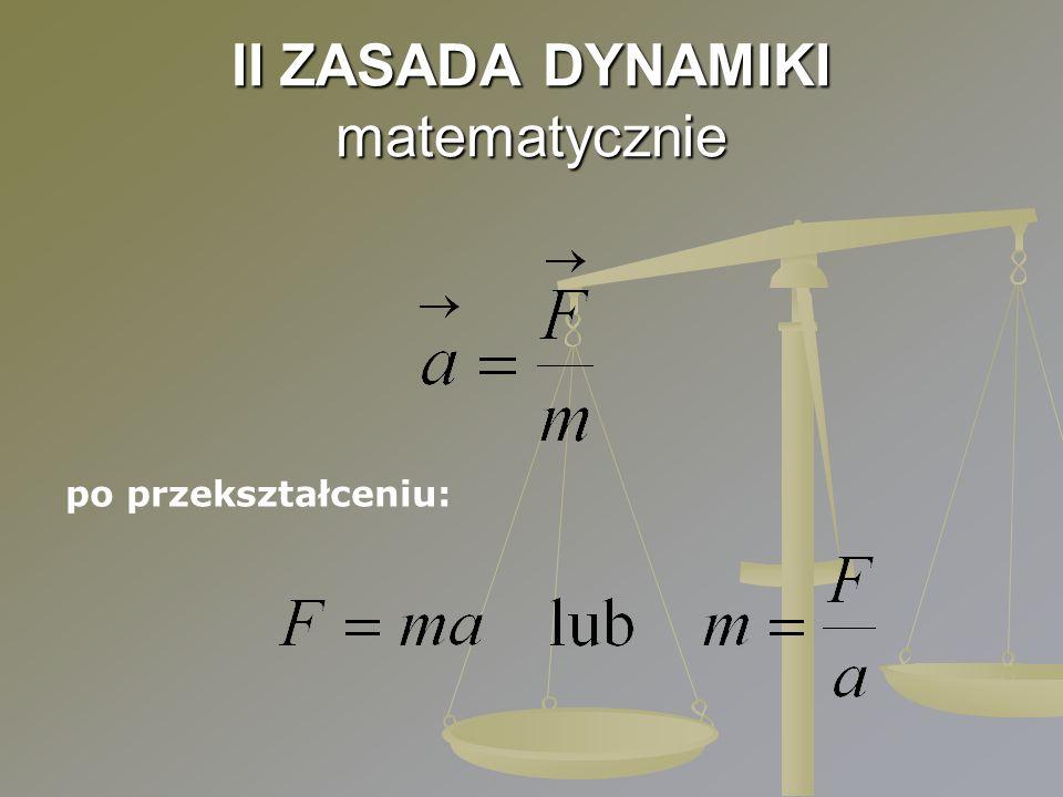 II ZASADA DYNAMIKI matematycznie