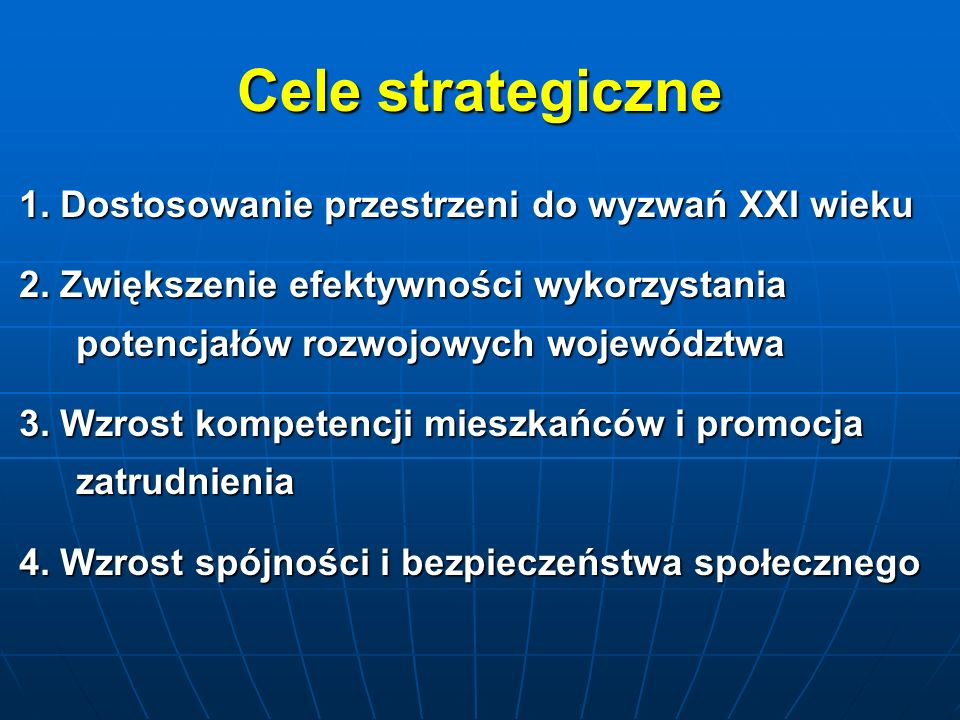 Cele strategiczne 1. Dostosowanie przestrzeni do wyzwań XXI wieku
