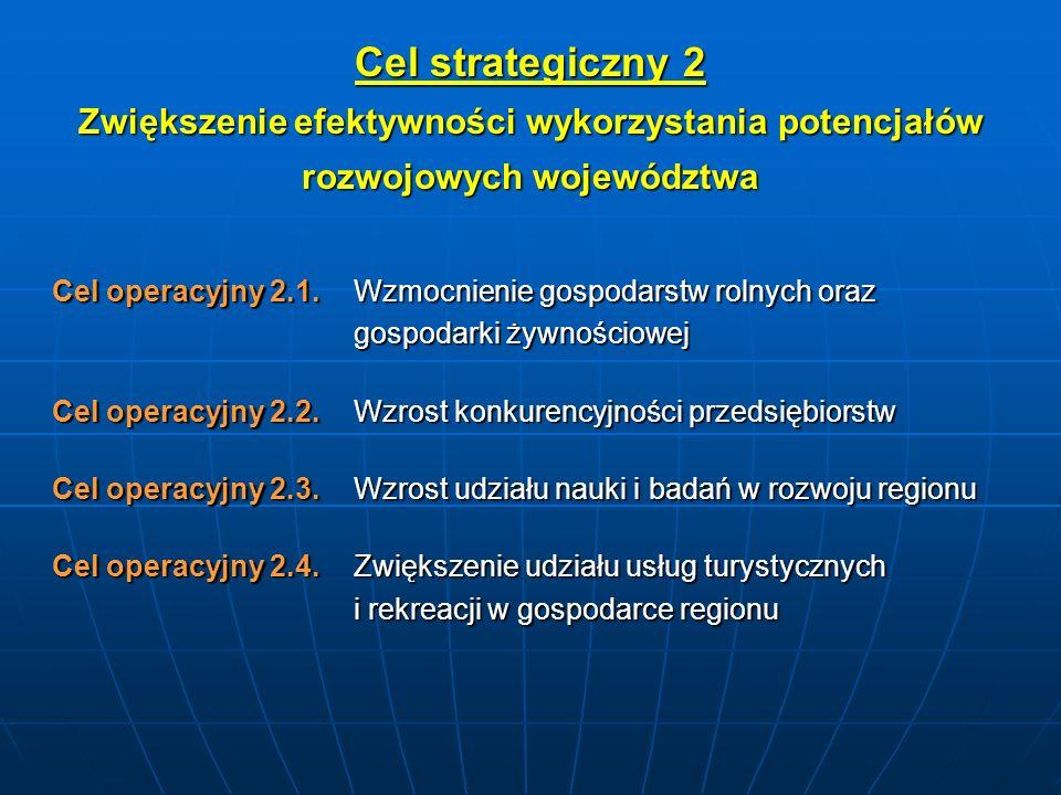 Cel strategiczny 2 Zwiększenie efektywności wykorzystania potencjałów rozwojowych województwa