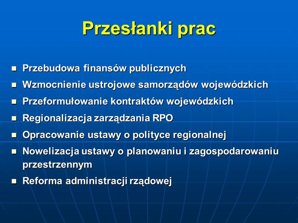Przesłanki prac Przebudowa finansów publicznych