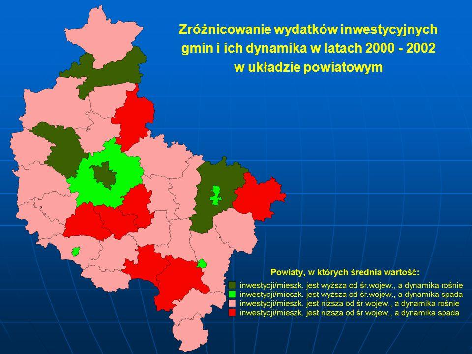 Zróżnicowanie wydatków inwestycyjnych gmin i ich dynamika w latach 2000 - 2002 w układzie powiatowym