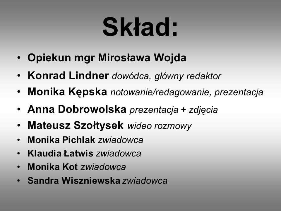 Skład: Opiekun mgr Mirosława Wojda