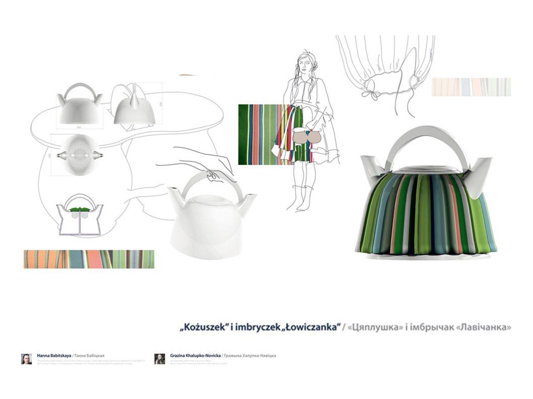 """Kożuszek i imbryczek """"Łowiczanka używa wzoru łowickiej spódnicy do stworzenia pelerynki na imbryk z herbatą, która pozwoli zachować jej ciepło."""