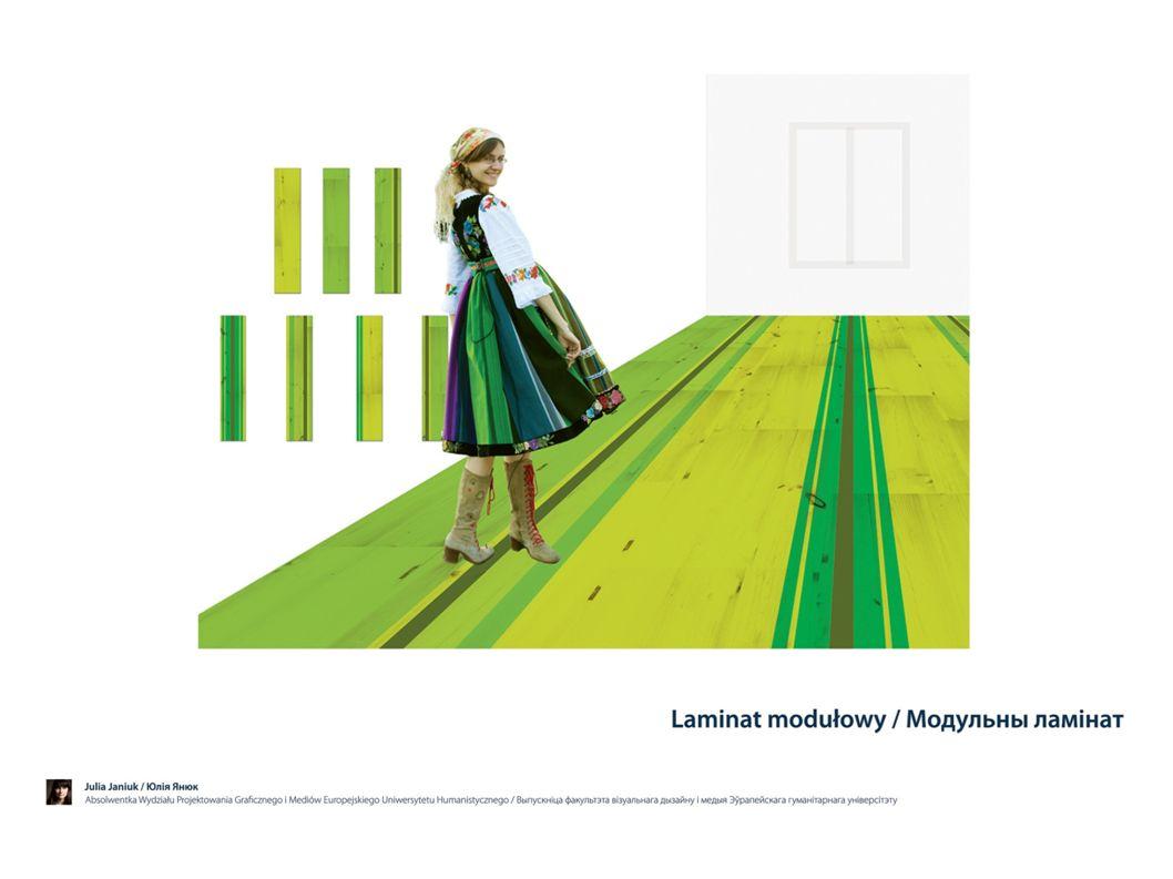 """Autorka """"Laminatu wykorzystała kolory łowickiej spódnicy do zaprojektowania paneli podłogowych."""