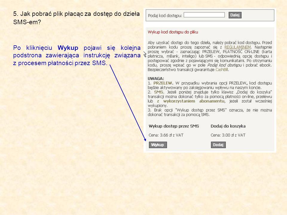 5. Jak pobrać plik płacąc za dostęp do dzieła SMS-em