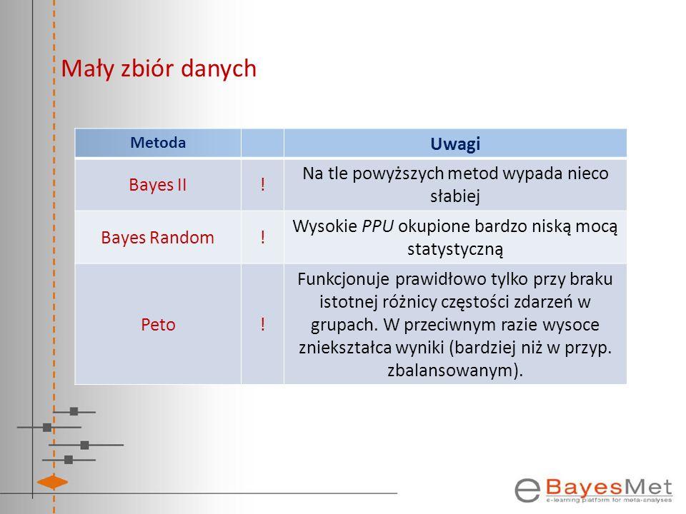 Mały zbiór danych Uwagi Bayes II !