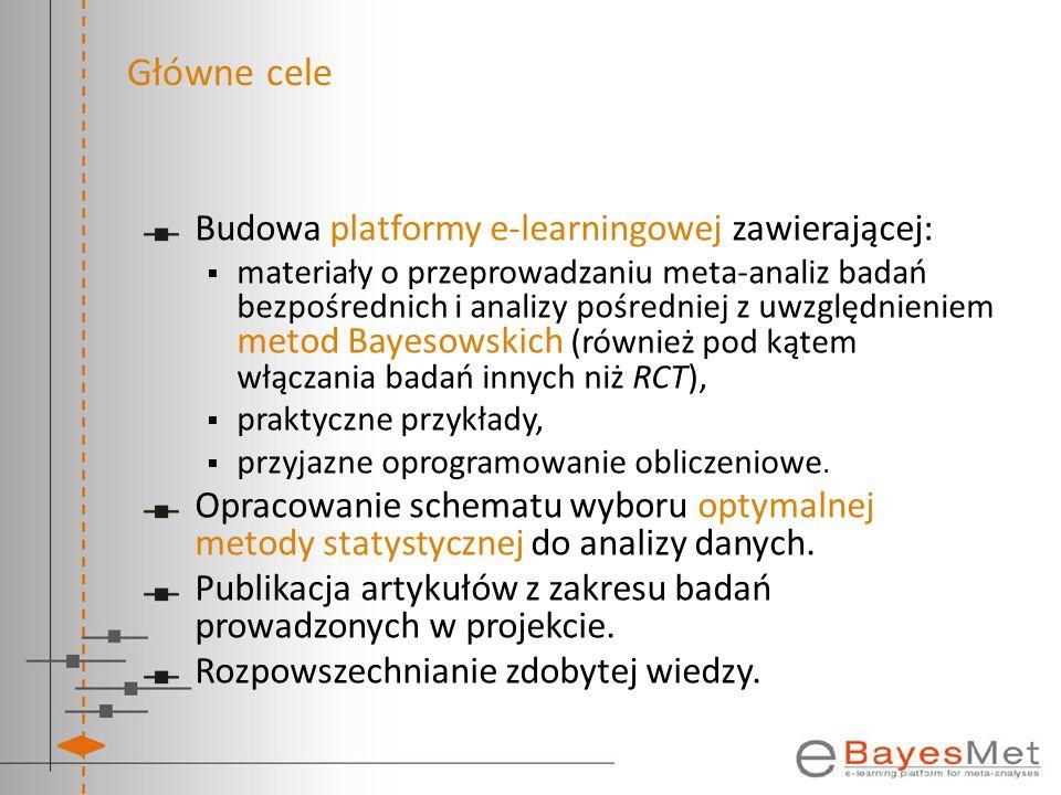 Główne cele Budowa platformy e-learningowej zawierającej: