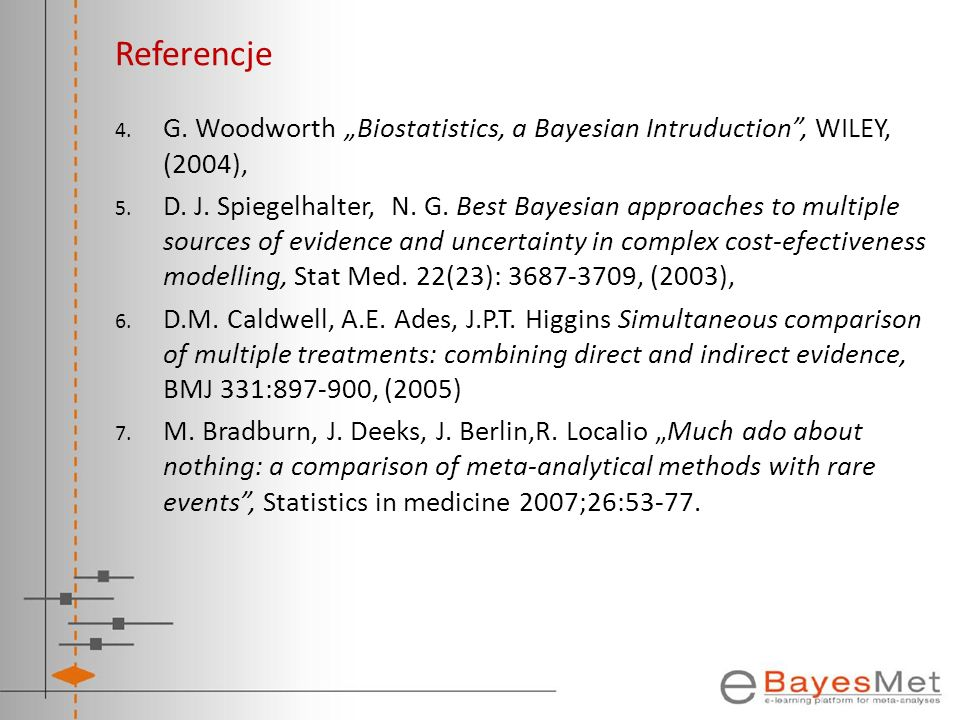 "Referencje G. Woodworth ""Biostatistics, a Bayesian Intruduction , WILEY, (2004),"