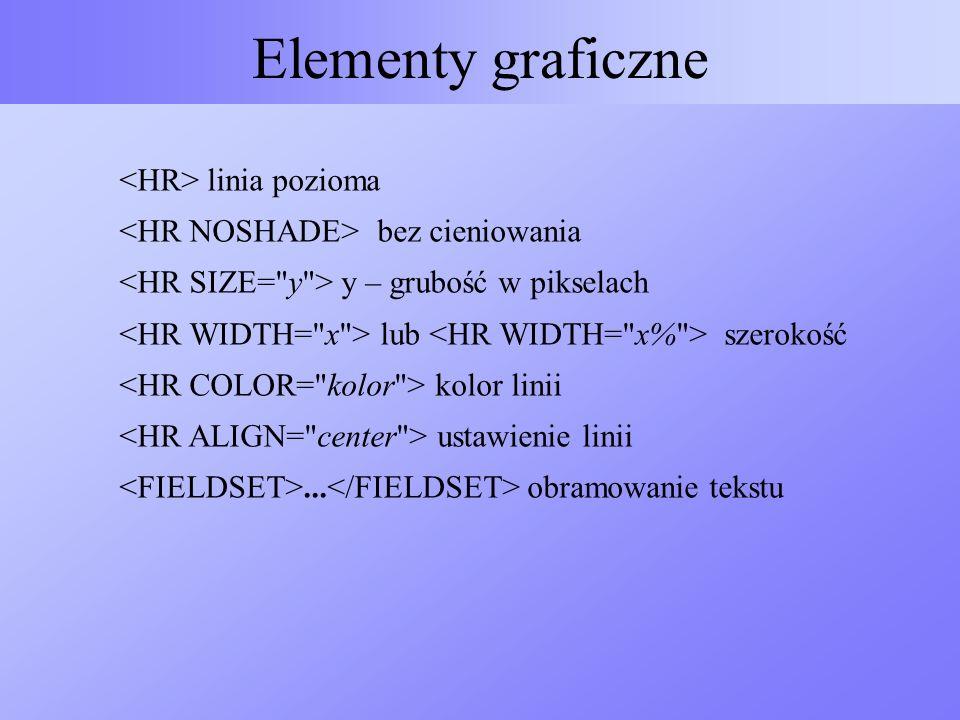 Elementy graficzne <HR> linia pozioma