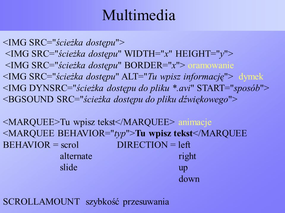 Multimedia <IMG SRC= ścieżka dostępu >