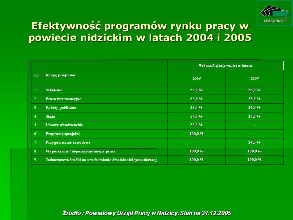 Efektywność programów rynku pracy w powiecie nidzickim w latach 2004 i 2005