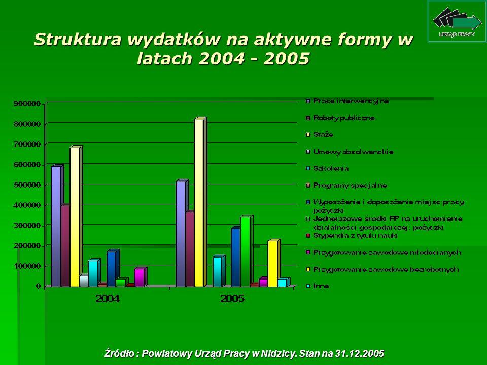 Struktura wydatków na aktywne formy w latach 2004 - 2005