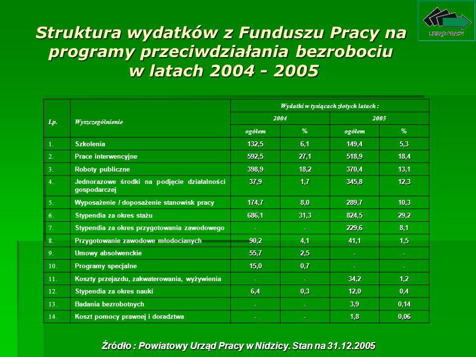 Struktura wydatków z Funduszu Pracy na programy przeciwdziałania bezrobociu w latach 2004 - 2005