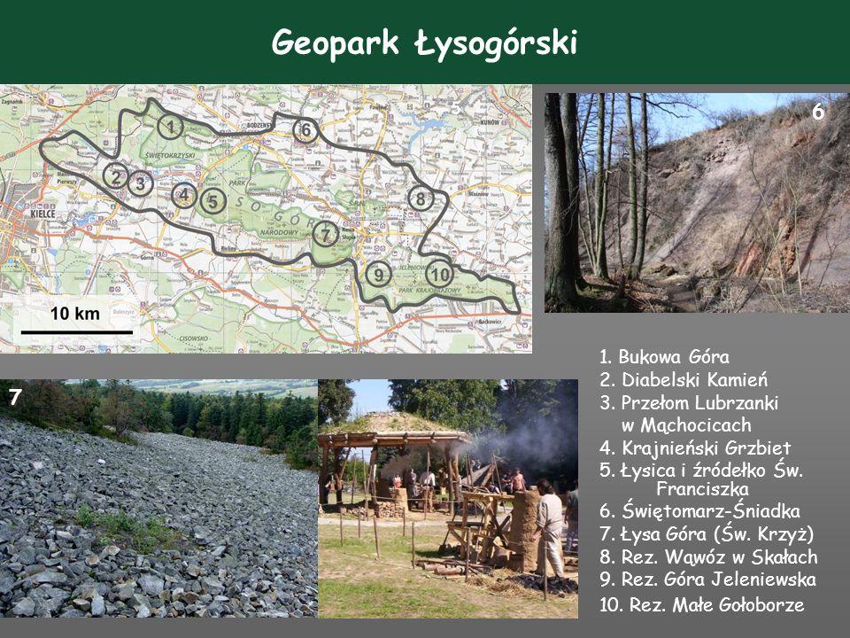 Geopark Łysogórski 6 7 1. Bukowa Góra 2. Diabelski Kamień