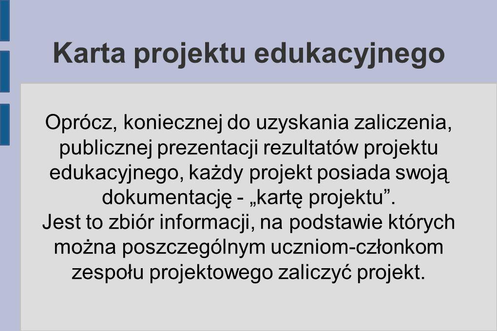 Karta projektu edukacyjnego