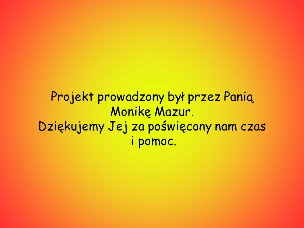 Projekt prowadzony był przez Panią Monikę Mazur