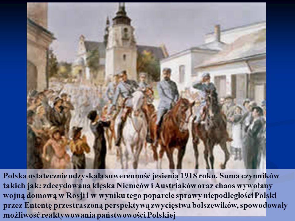 Polska ostatecznie odzyskała suwerenność jesienią 1918 roku