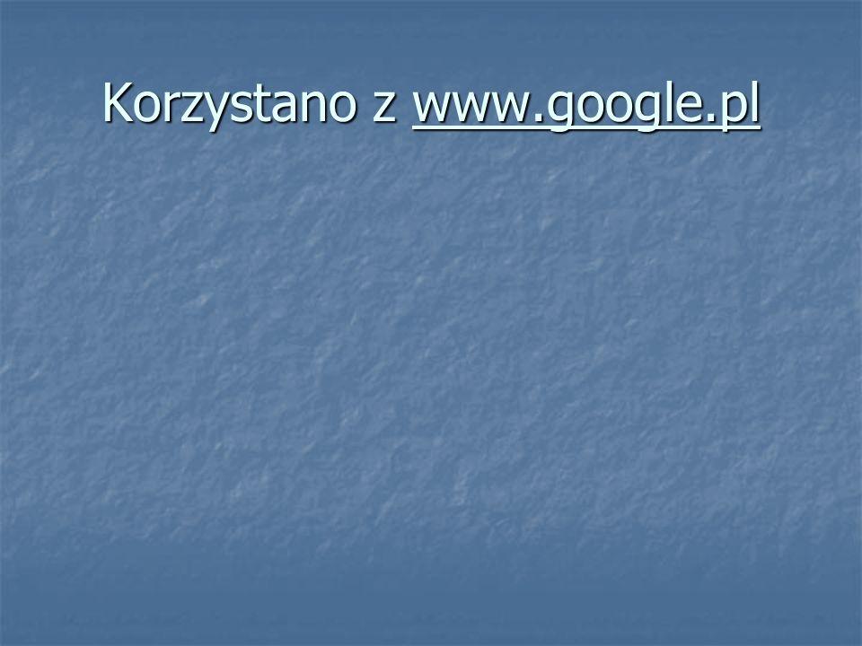 Korzystano z www.google.pl