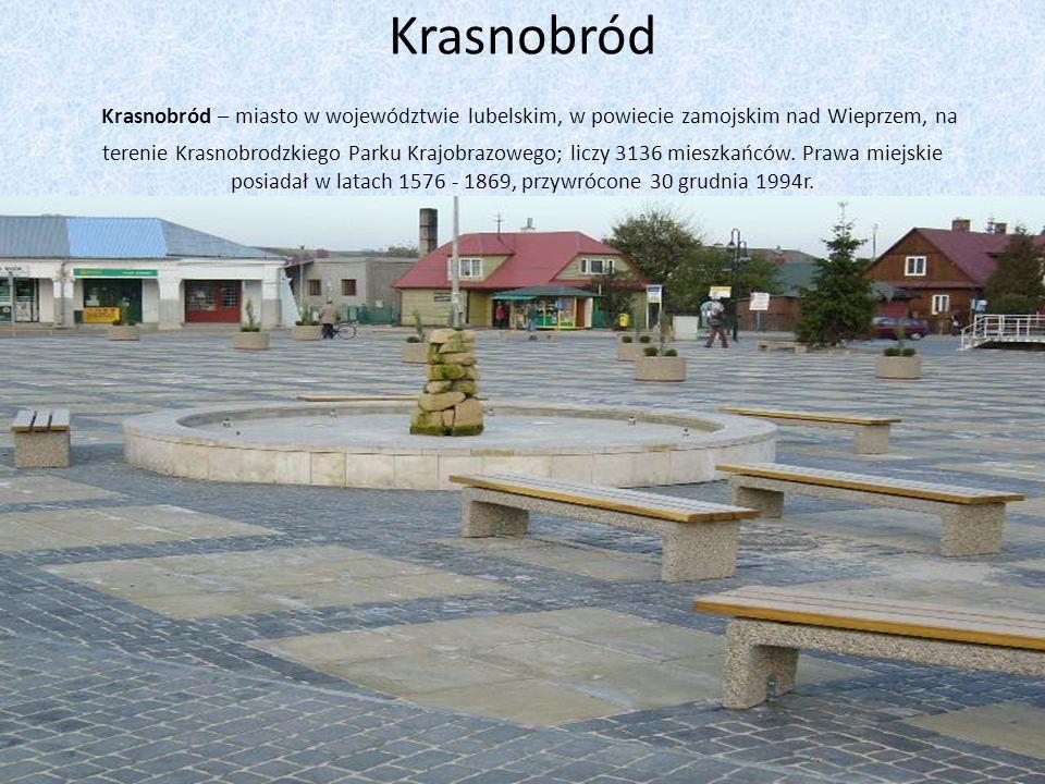 Krasnobród Krasnobród – miasto w województwie lubelskim, w powiecie zamojskim nad Wieprzem, na terenie Krasnobrodzkiego Parku Krajobrazowego; liczy 3136 mieszkańców.
