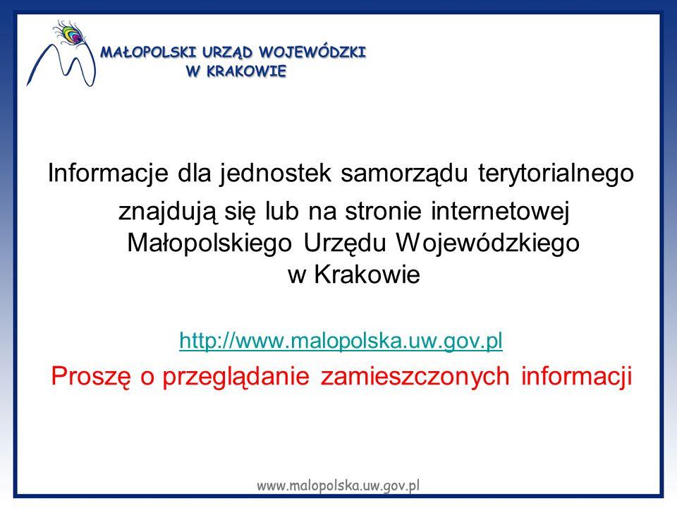 Informacje dla jednostek samorządu terytorialnego